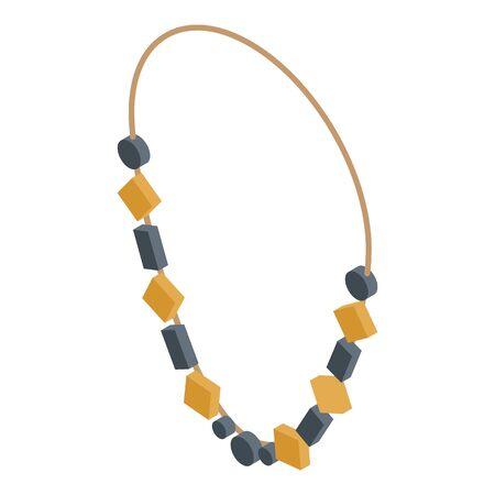 Stone jewel necklace icon, isometric style