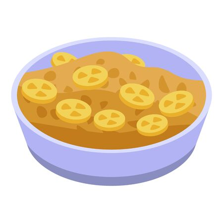 Bowl cereal flakes icon, isometric style