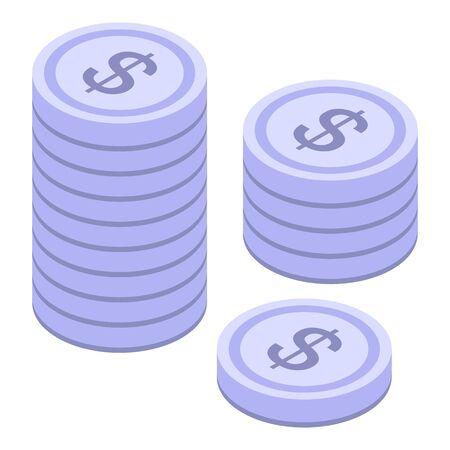 Silver coins stack icon, isometric style Ilustração