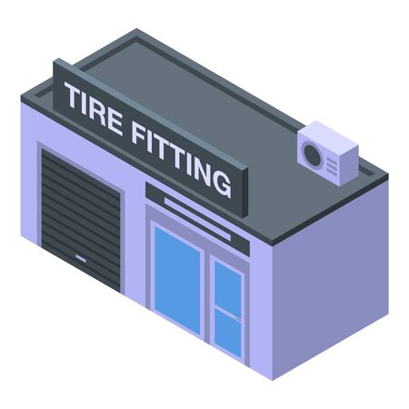 Tire fitting service icon, isometric style Illustration