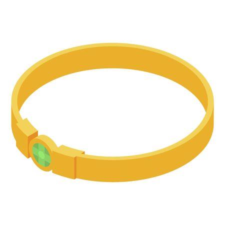 Gold bracelet icon, isometric style