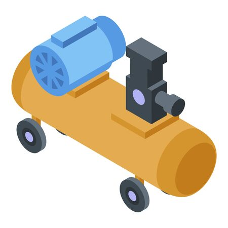 Car air compressor icon, isometric style