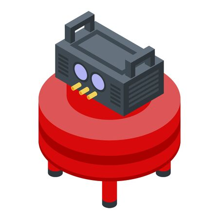 Round air compressor icon, isometric style
