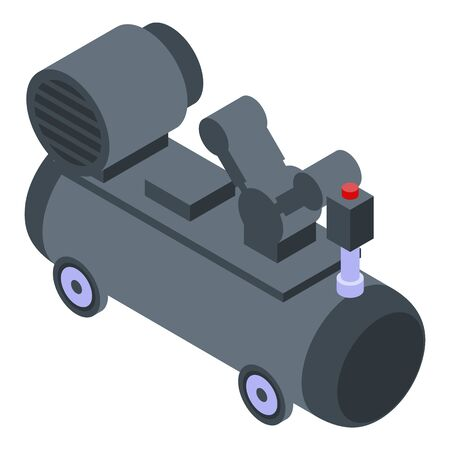 Air compressor unit icon, isometric style