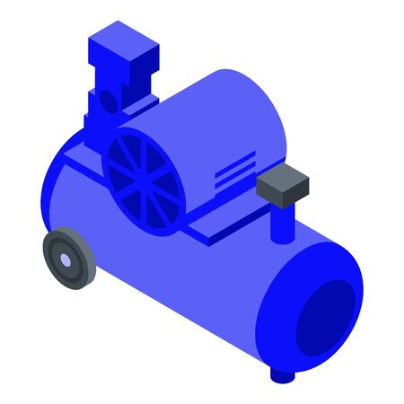 Cylinder air compressor icon, isometric style
