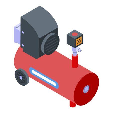 Motor air compressor icon, isometric style Illustration