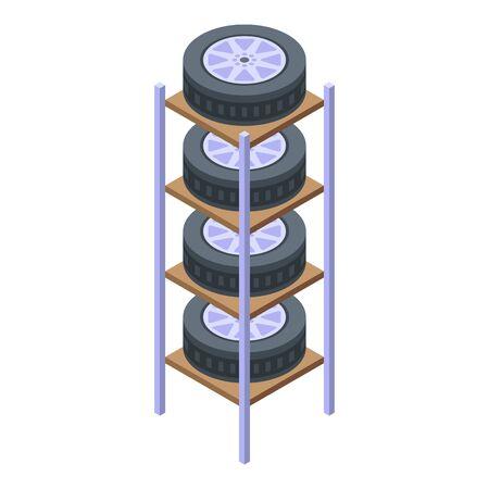 Home tires rack icon, isometric style