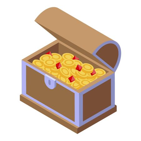 Dower chest icon, isometric style