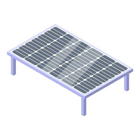 Ground solar panel icon, isometric style