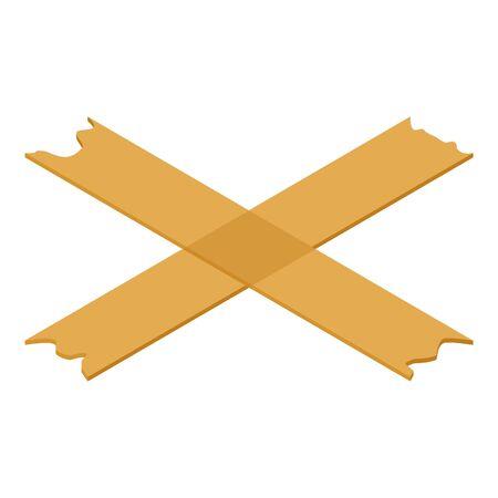 Cross tape icon, isometric style