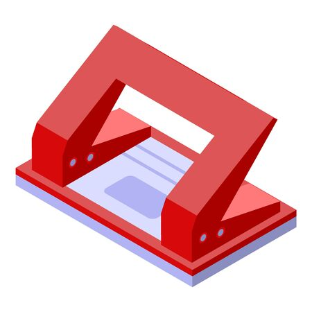 Red hole puncher icon. Isometric of red hole puncher vector icon for web design isolated on white background