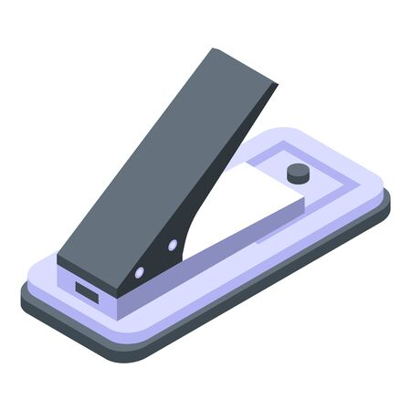 Plastic hole puncher icon. Isometric of plastic hole puncher vector icon for web design isolated on white background