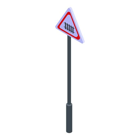 Railway road sign icon. Isometric of railway road sign vector icon for web design isolated on white background