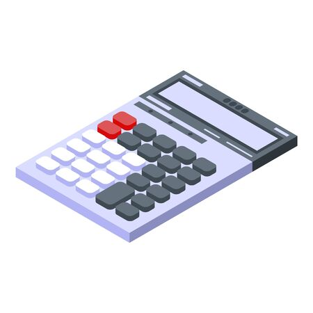 Calculator icon. Isometric of calculator vector icon for web design isolated on white background