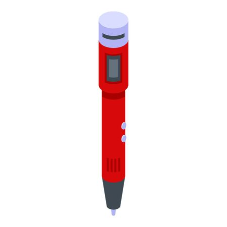 3d pen innovation icon, isometric style