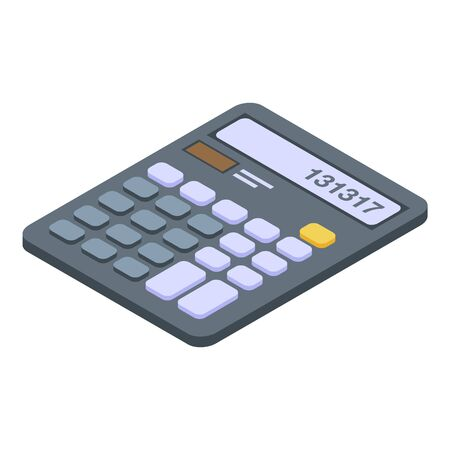 Business calculator icon. Isometric of business calculator vector icon for web design isolated on white background Vettoriali