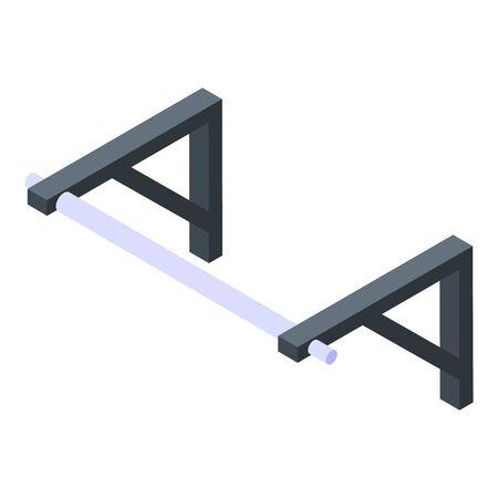 Gym fix bar icon, isometric style