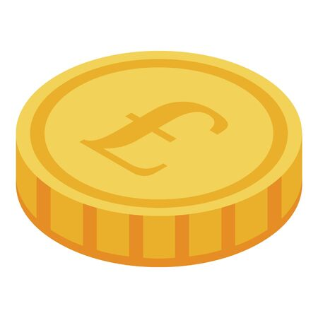 Gold coin icon. Isometric of gold coin vector icon for web design isolated on white background