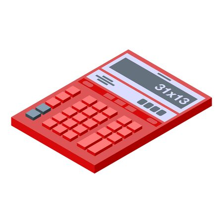 Red calculator icon. Isometric of red calculator vector icon for web design isolated on white background