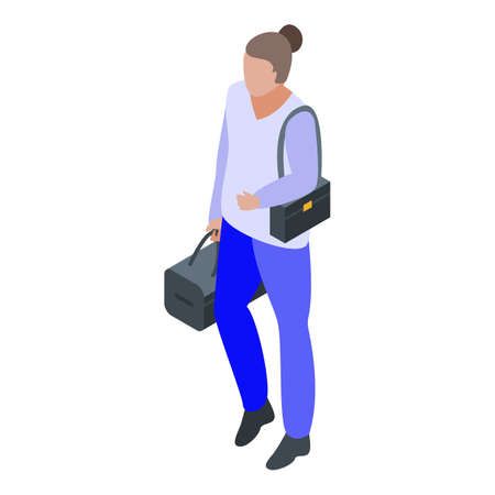 Woman climate immigrant icon, isometric style Illustration