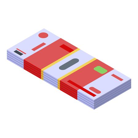 Trade war money pack icon, isometric style 向量圖像