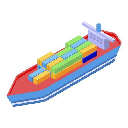 Cargo ship icon, isometric style