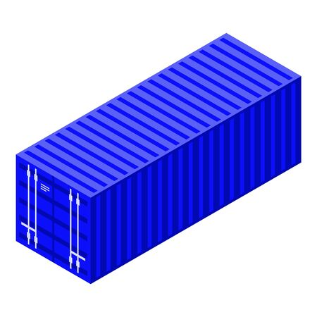 Trade war cargo container icon, isometric style
