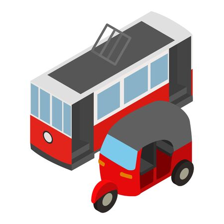 Urban transport icon, isometric style