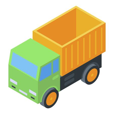 Kid toy truck icon, isometric style