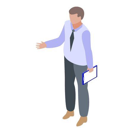 Man start business training icon. Isometric of man start business training vector icon for web design isolated on white background