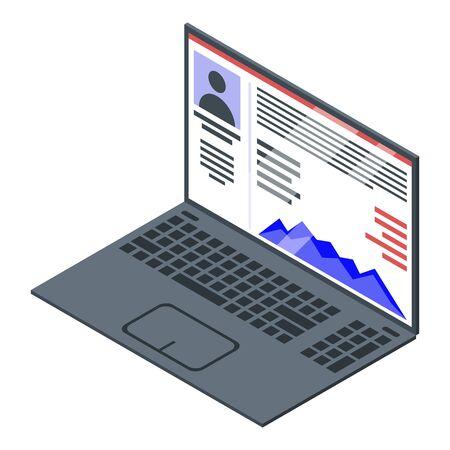 Laptop online reputation icon, isometric style
