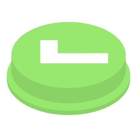 Approved green button icon, isometric style Çizim