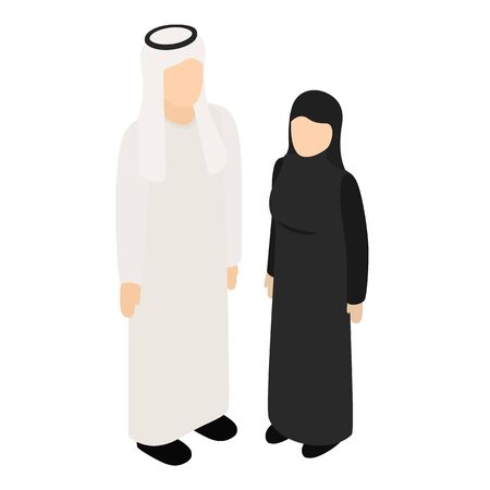 Arabic couple icon, isometric style