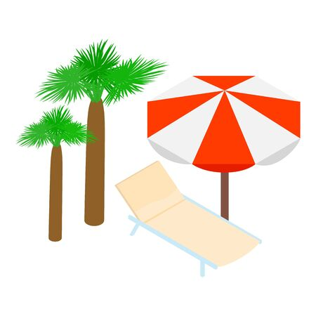 Summer vacation icon, isometric style