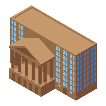 Broker courthouse icon, isometric style