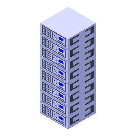 Broker server rack icon, isometric style
