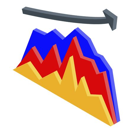 Broker graph chart icon, isometric style
