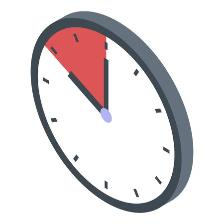 Deadline wall clock icon, isometric style