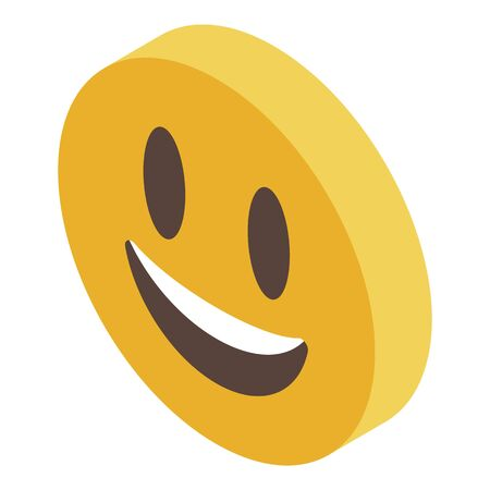 Smiling emoji reputation icon. Isometric of smiling emoji reputation vector icon for web design isolated on white background Illusztráció