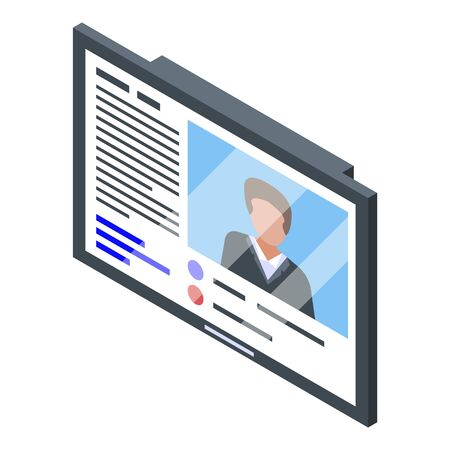 Tv online business training icon, isometric style