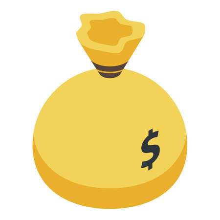 Fraud money bag icon, isometric style