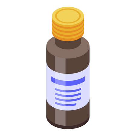 Vaccine syrup bottle icon, isometric style 向量圖像