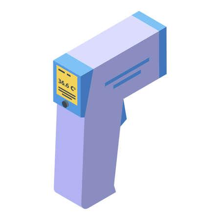 Thermometer gun icon, isometric style