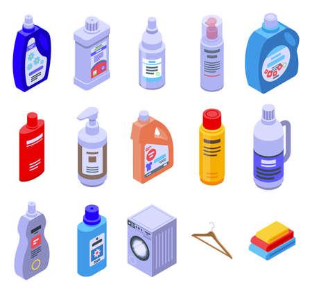 Softener icons set, isometric style