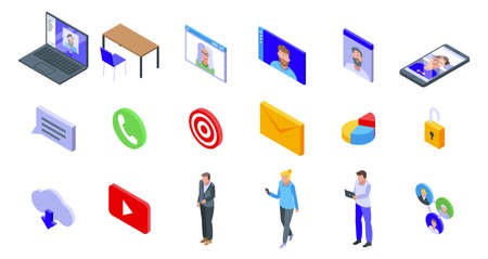 Online meeting icons set, isometric style