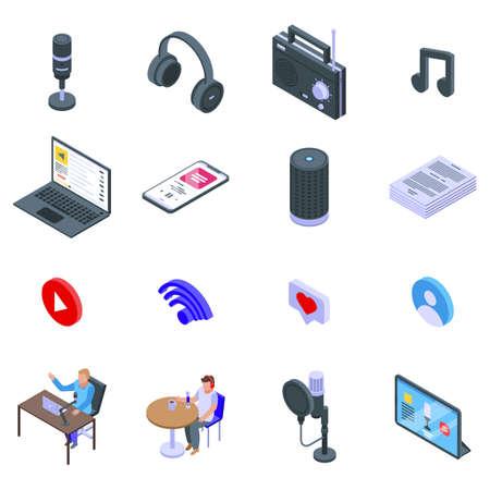 Podcast icons set, isometric style Ilustrace