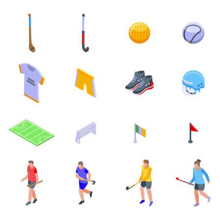 Hurling icons set, isometric style 일러스트