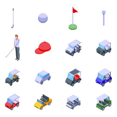 Golf cart icons set, isometric style