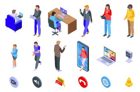 Video call icons set, isometric style Ilustracja