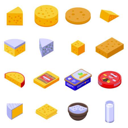 Cheese icons set, isometric style